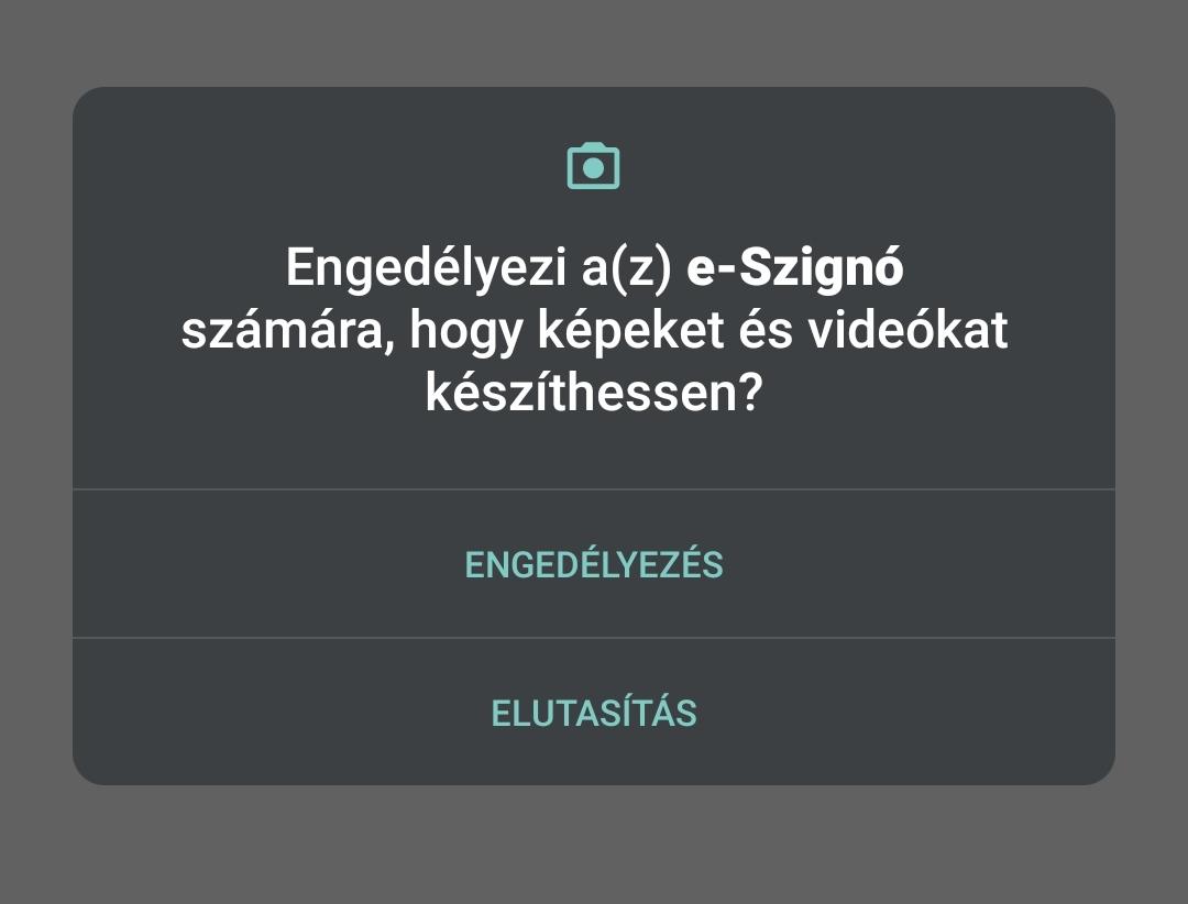 Engedélyezze az e-Szignó programnak a hozzáférést